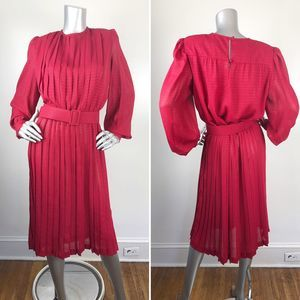 Vintage 80s Pleated Red Belted Shimmer Midi Dress